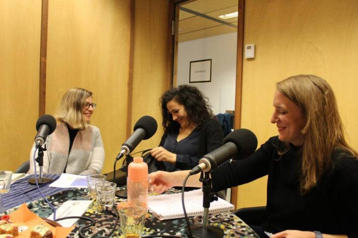Liz Evenson, Amal Nassar and Alix Vuillemin Grendel recording a podcast for Asymmetrical Haircuts and JusticeInfo.net
