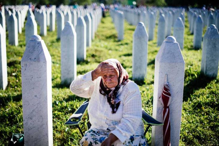 An elderly woman at the Potocari memorial center, Srebrenica.