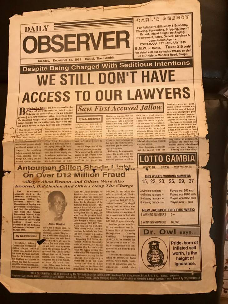 Photo from the Gambian newspaper The Observer, dated December 12, 1995, titling: We still do not have access to our lawyers