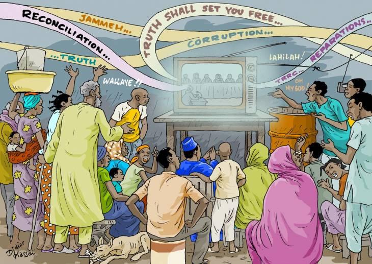 Le TTRC en Gambie, une commission vérité médiatique et populaire (illustration de Didier Kassaï)
