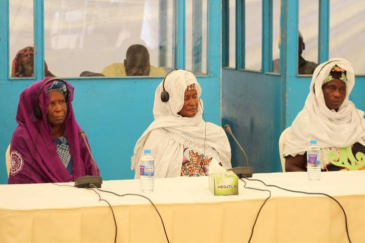 Lamarana Jallow, Sukai Jallow and Fatou Sowe testify before the Truth Commission in Jambur