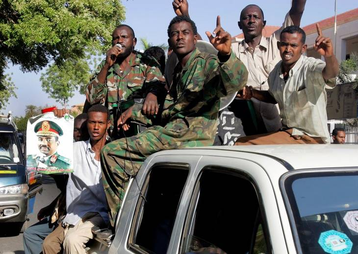 Demonstration by Sudanese soldiers in Khartoum (Sudan)