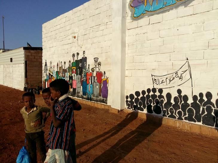 Mural fresco in Sudan: freedom, peace, justice