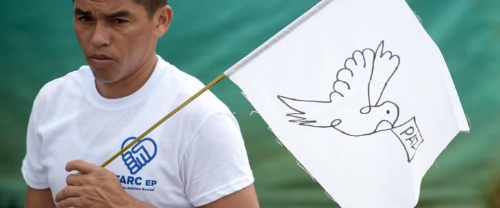 Un ancien soldat des FARC brandit le drapeau de la paix lors d'une cérémonie finale d'abandon de la lutte armée, en juin 2017.