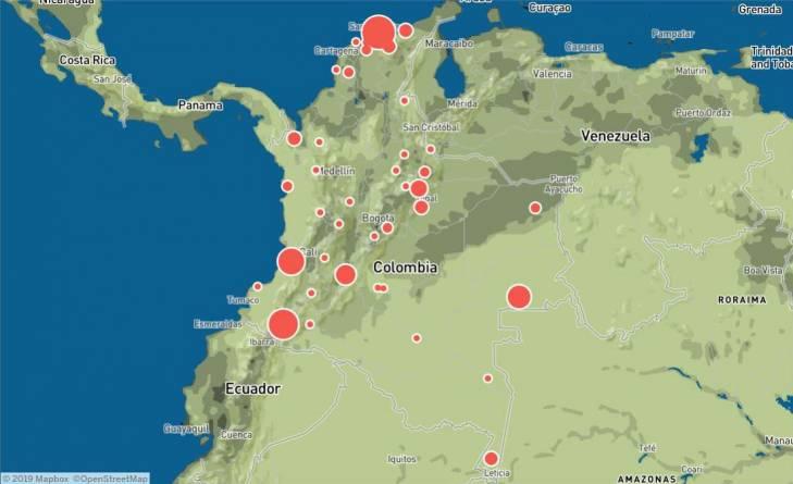 Carte représentant les menaces sur les gardes forestiers en Colombie