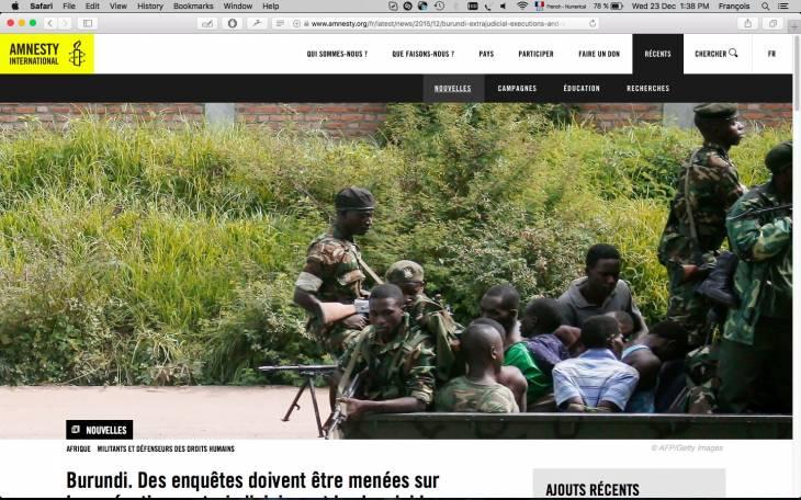 Burundi: Amnesty accuse les forces de sécurité d'avoir procédé à des exécutions sommaires